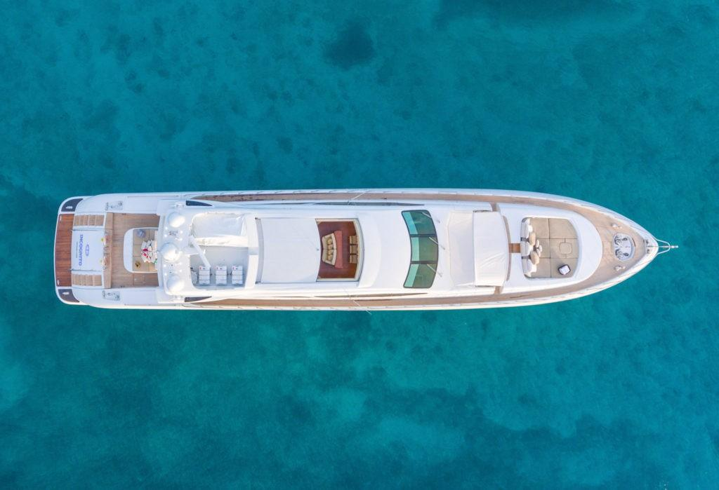 2005 Mangusta 130 Incognito yacht for sale (Overhead Profile)